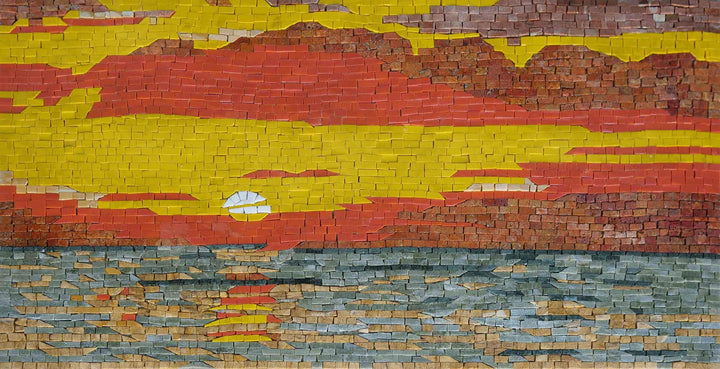 Warm Sunset Mosaic Wall Art