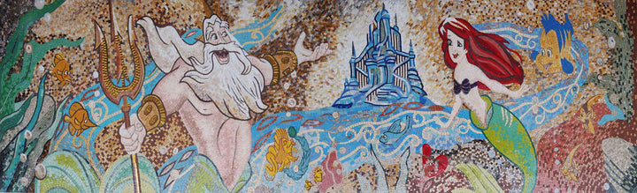 Arial and King Triton Cartoon Mosaic