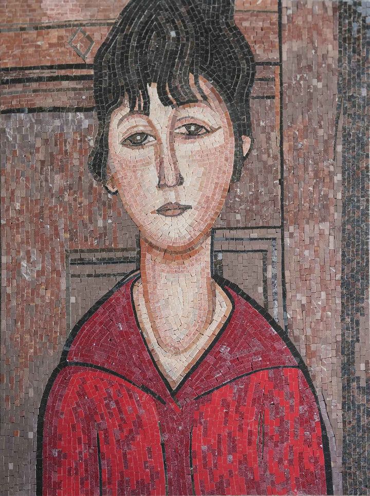"""Head of a Young Girl"" - Amedeo Modigliani Mosaic Reproduction"