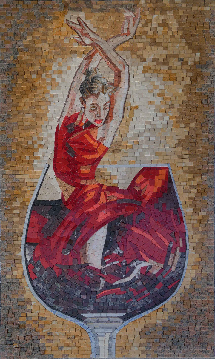 The Red Ballerina Mosaic Artwork