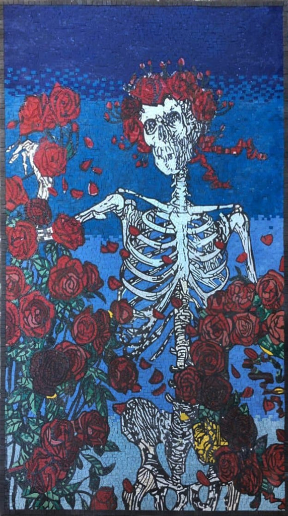 Roses and a Skeleton Floral Mosaic Artwork