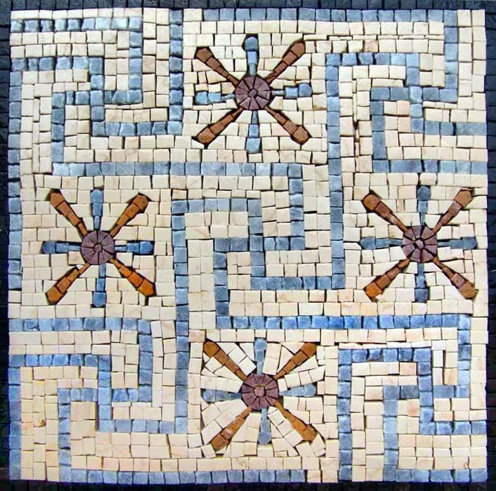 Blue and White Mosaic - Starburst Maze