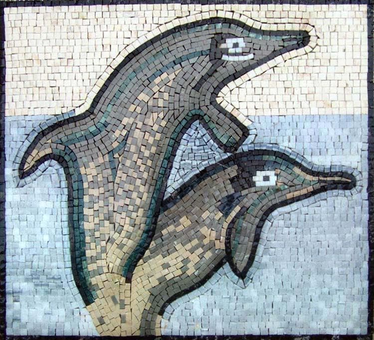 Nautical Mosaic Accent Dolphins Pic