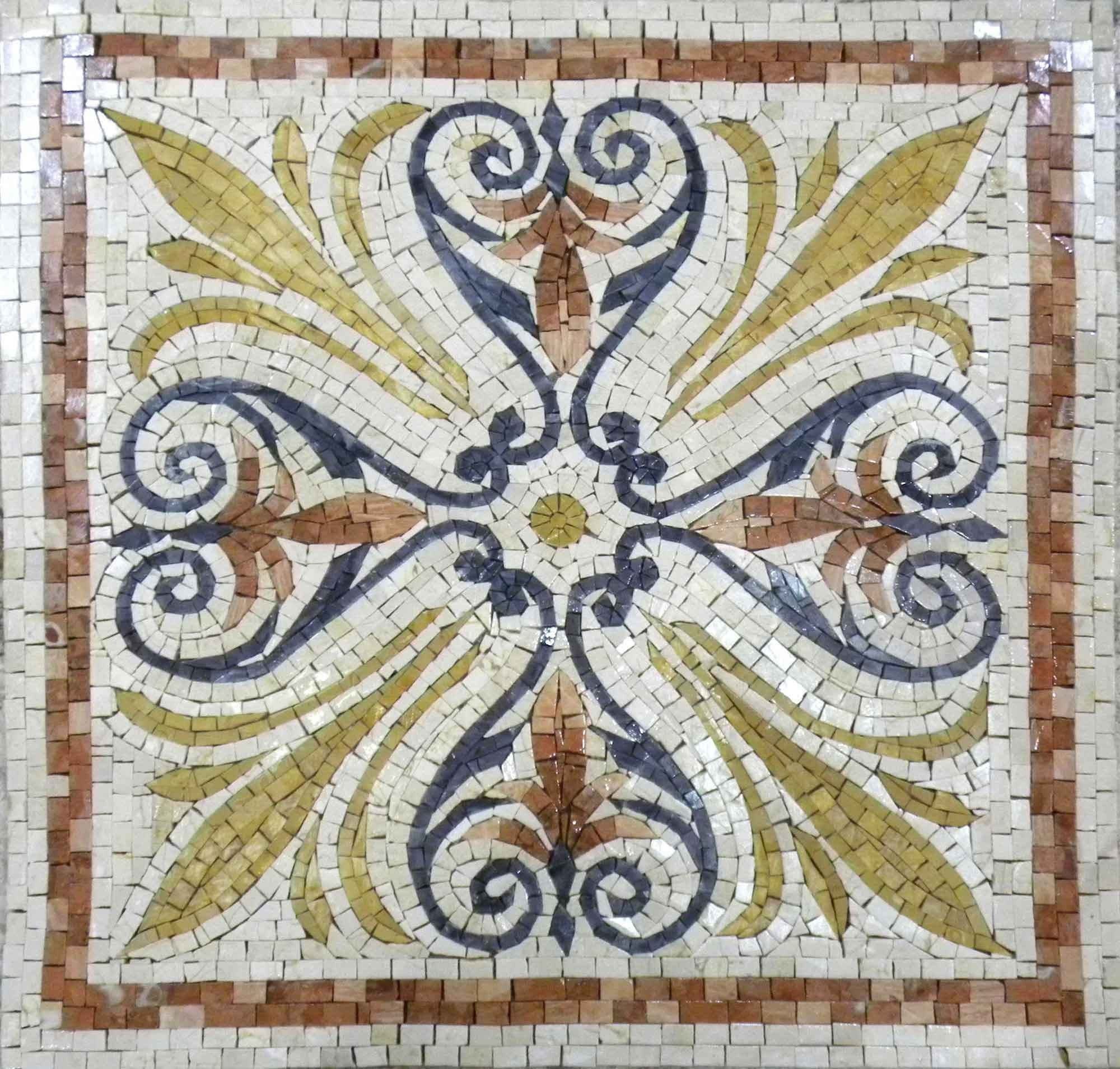 Accent Mosaic With Elegant Floral Design Pic