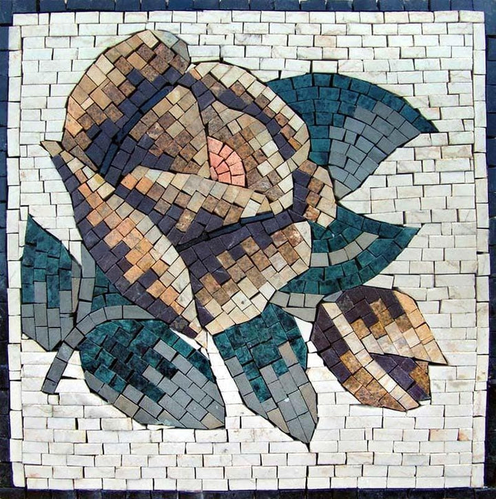 Mosaic Art - Blue Aster Flower