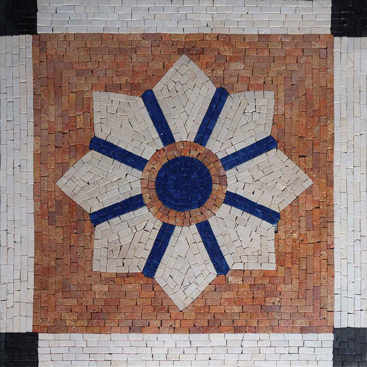 Geometric Decorative Mosaic Tile On Brick Red