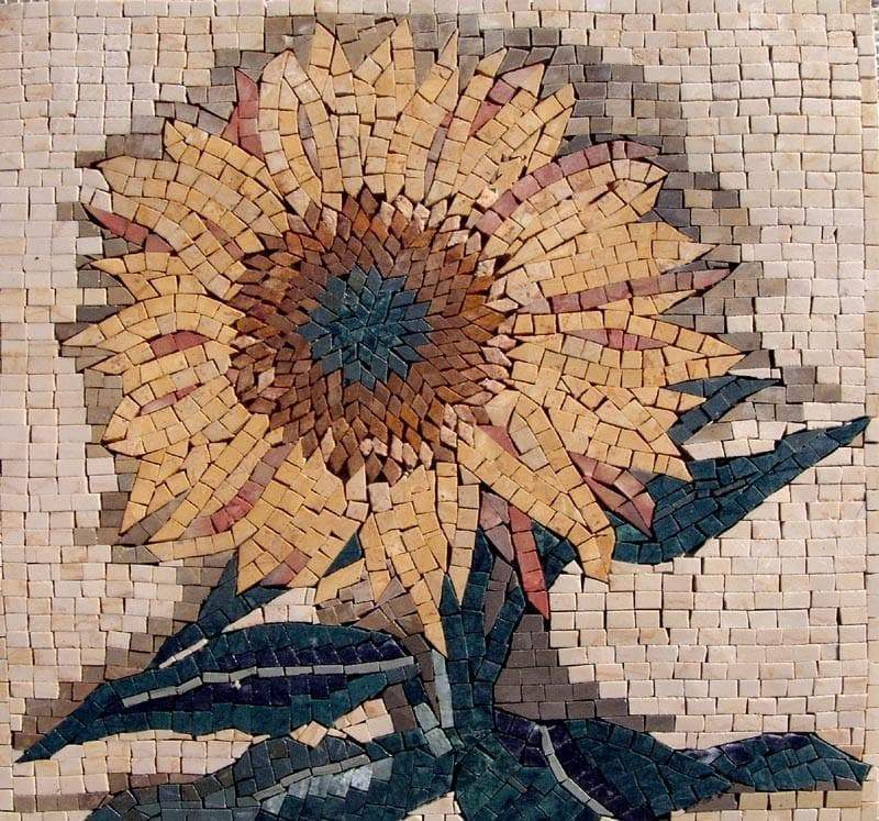 Mosaics Tile Art Sunflower Accent Pic
