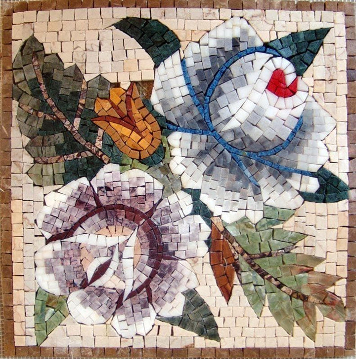 Mosaic Wall Art - Floral Stone