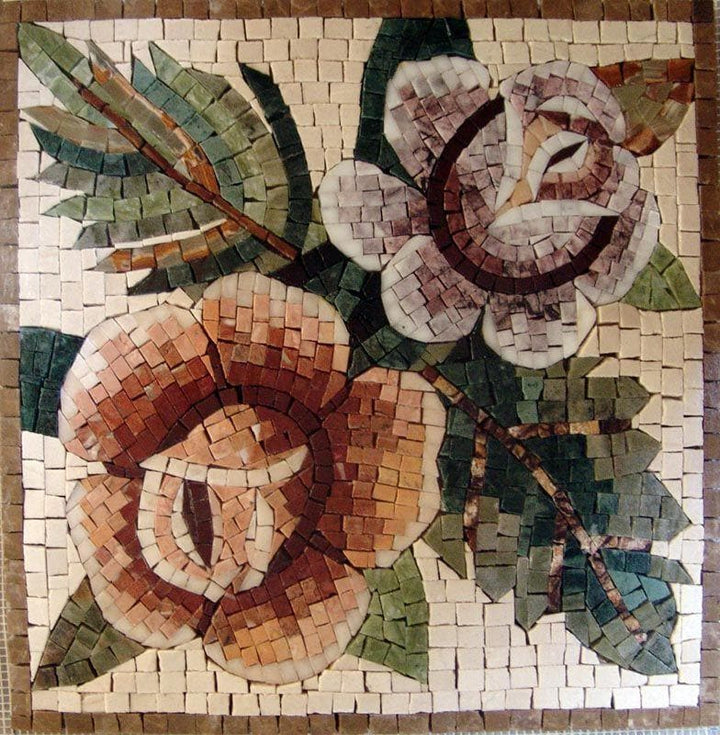 Mosaic Tile Patterns - Contrasting Roses