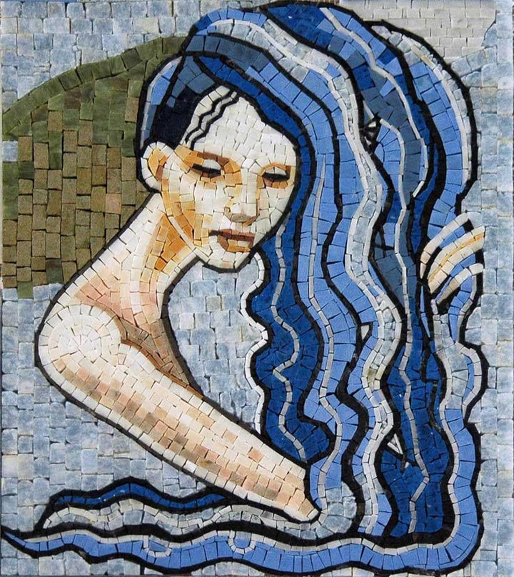 Aquarius Horoscope Mosaic Marble Tile Stone Art