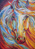 Colorful White Horse Mosaic