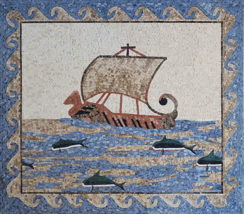 Ancient Sailing Boat Mosaic Marble