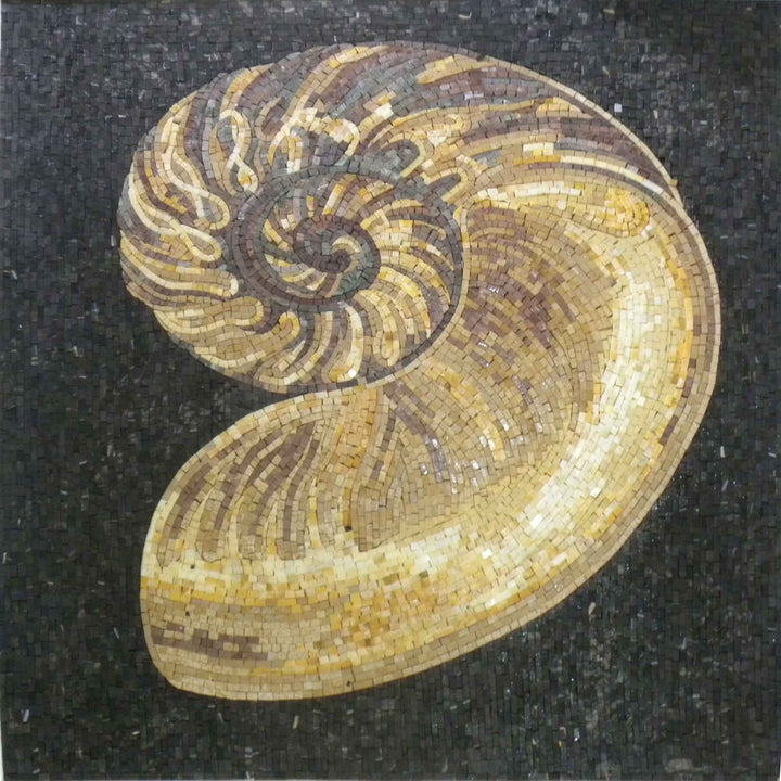 Mosaic Art - Golden Seashell