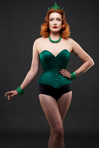 What Katie Did and Splendette vintage inspired green corset and fakelite jewellery