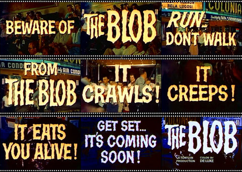 Collage of screenshots from B-Movie Sci-fi The Blob 1958