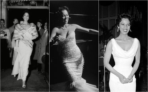 Collage of black and white photos of Dorothy Dandridge in formal Hollywood events in the 1950s