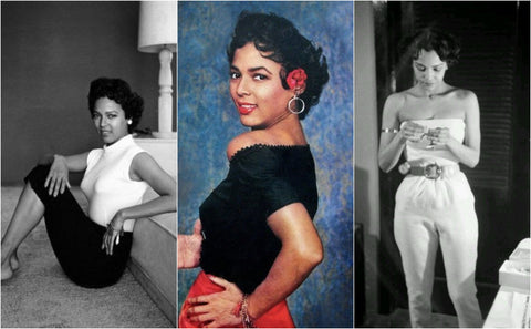 Collage of three photos of vintage Hollywood star Dorothy Dandridge at home or dressed down in the 1950s