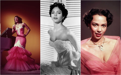 Dorothy Dandridge collage of three vintage 1950s formal red-carpet outfits for Hollywood events and photoshoots