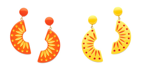 Splendette vintage inspired 1940s 1950 style fashion fakelite Duotone yellow Sunrise orange Sunset drop earrings