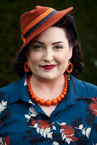 Splendette vintage inspired 1940s 1950s style carved fakelite Fox orange jewellery with Chronically Overdressed The Glambassador Christine Cochran