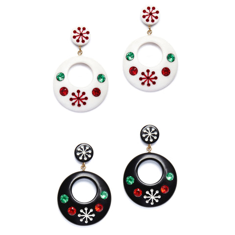 Splendette vintage inspired 1950s style Christmas white Lumi and black Musta Atomic Snowflake Drop Hoop Earrings