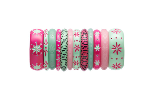 Splendette vintage inspired 1950s style carved Duotone stack with pink Flamingo and green Parrot bangles