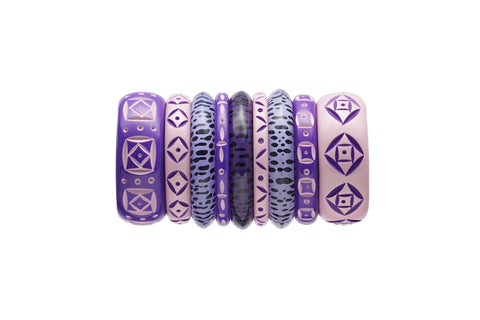 Splendette vintage inspired 1950s style carved purple fakelite stack with Duotone and leopard print bangles