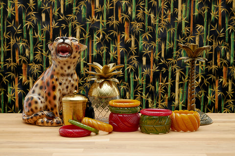 Splendette vintage inspired 1940s Bakelite style Golden Fakelite Autumn 2020 display with red Bordeaux, yellow Mustard and green Olive with retro leopard accessories