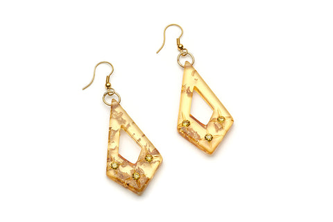 Splendette vintage inspired 1950s style luxurious mid century atomic carved Gold Foil fakelite drop earrings