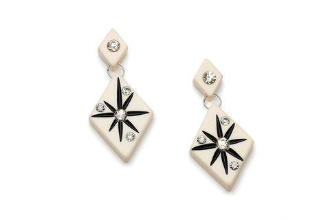 Splendette vintage inspired 1950s style mid century atomic Ivory Starburst Earrings