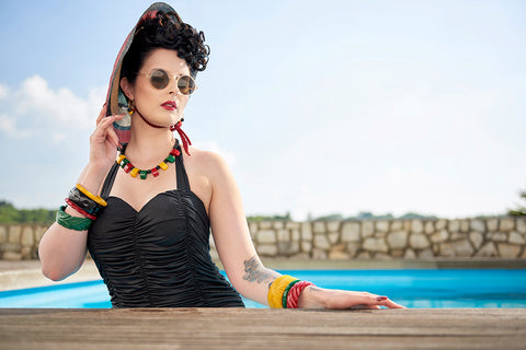 Splendette vintage inspired 1940s style heavy carved fashion fakelite pin up model shoot bangles necklace earrings