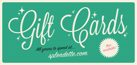 Splendette vintage inspired fakelite jewellery gift card graffic