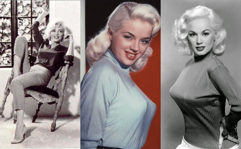 1950s pinup old hollywood Marilyn Monroe Diana Dors Mamie Van Doren sweater girl