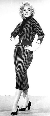 Marilyn Monroe 1950s pinup Hollywood icon black and white wiggle dress suit
