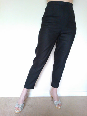Piplotex vintage inspired 1950s black capri cigarette pants