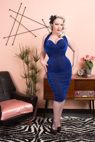 Violets in May vintage inspired 1950s pinup style lurex wiggle dress modelled by October Divine