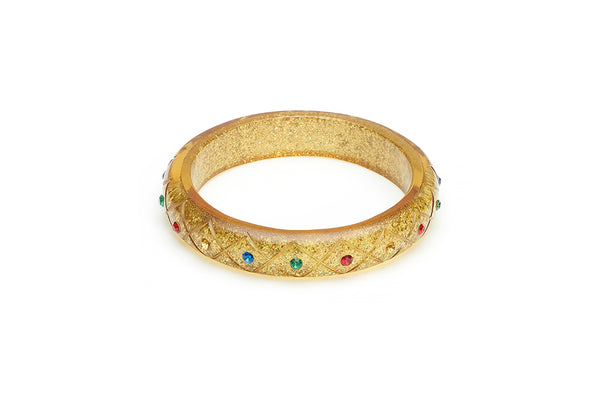 Midi Rainbow Jewel Carved Gold Glitter Bangle