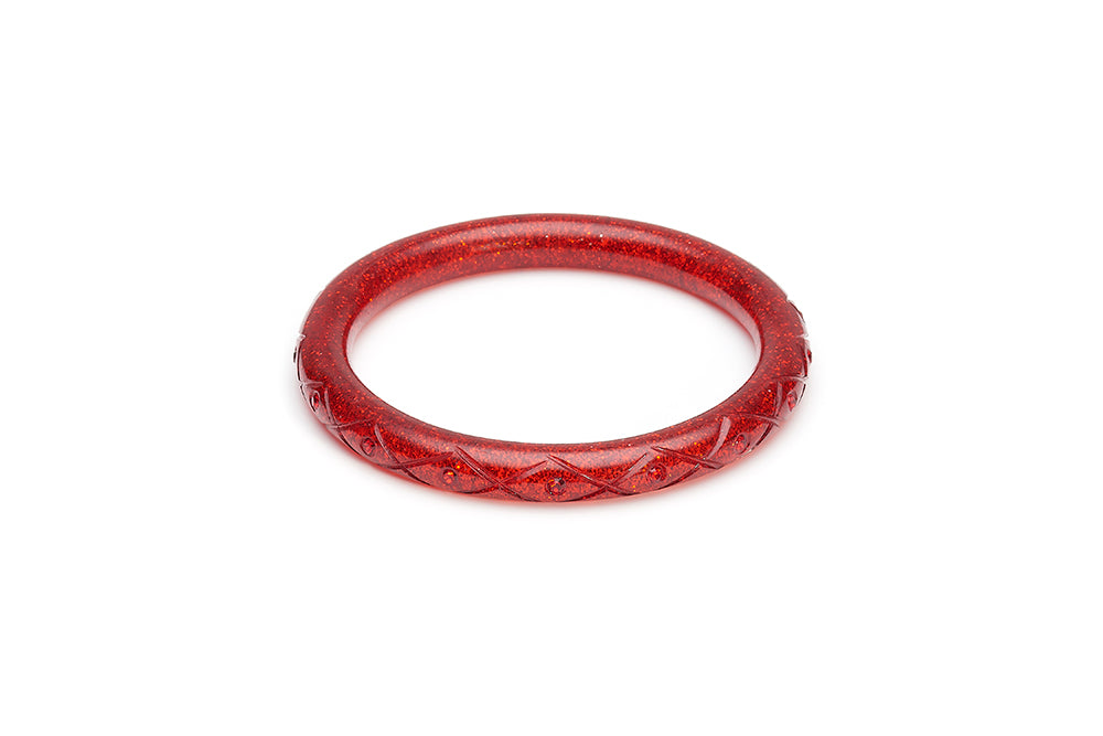 Narrow Carved Ruby Glitter Bangle