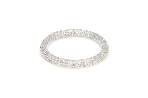 Narrow Carved Silver Glitter Bangle