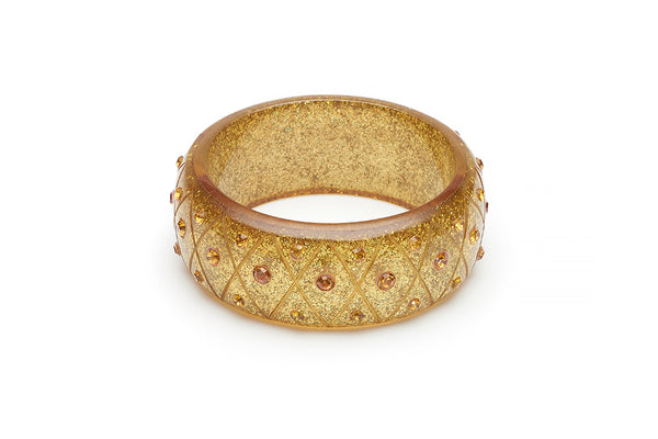 Wide Carved Gold Glitter Bangle
