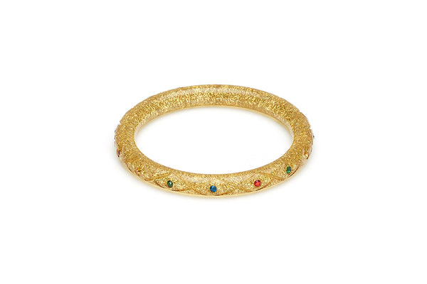 Narrow Rainbow Jewel Carved Gold Glitter Bangle