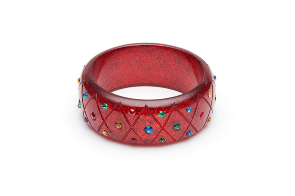 Wide Rainbow Jewel Carved Ruby Glitter Bangle