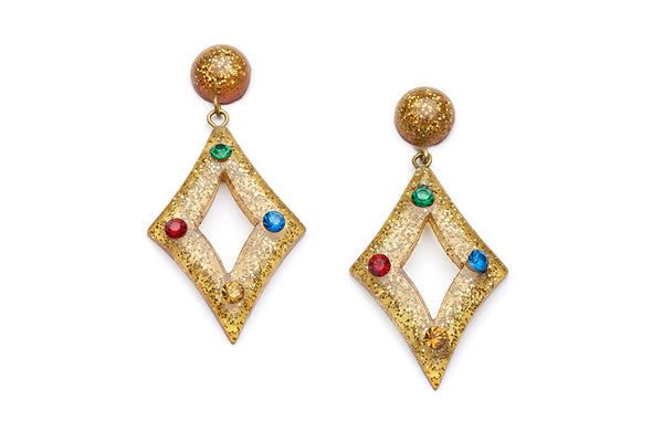 Carved Gold Glitter Rainbow Jewel Earrings