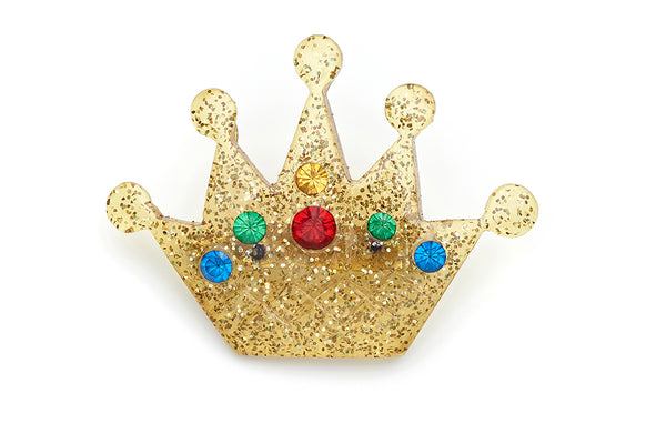 Carved Gold Glitter Crown Brooch