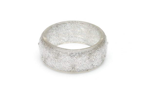 Wide Carved Silver Glitter Bangle
