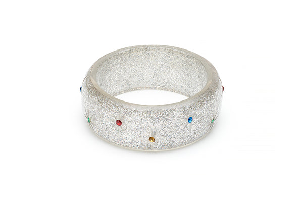 Wide Rainbow Jewel Carved Silver Glitter Bangle