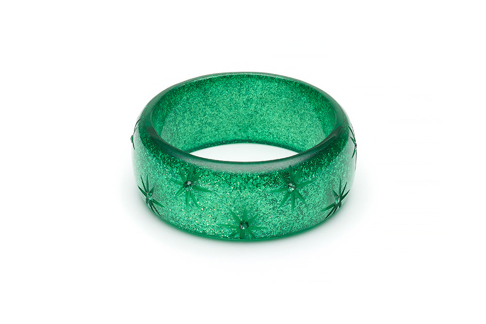 Wide Carved Emerald Glitter Bangle