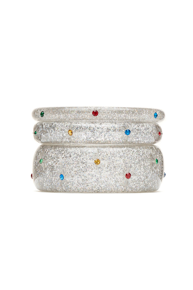 Narrow Rainbow Jewel Carved Silver Glitter Bangle