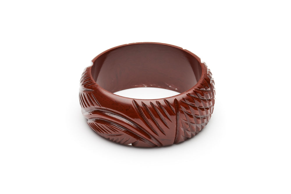 1940s style tobacco heavy carve wide bangle