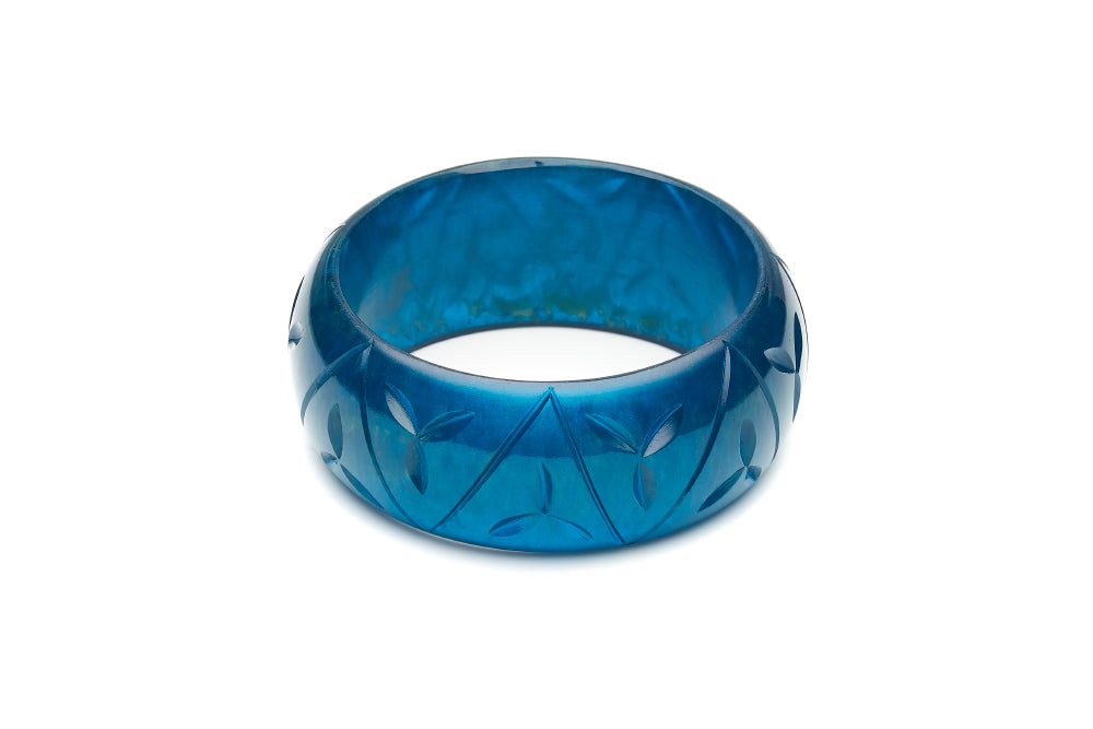 Wide Golden Teal Fakelite Bangle